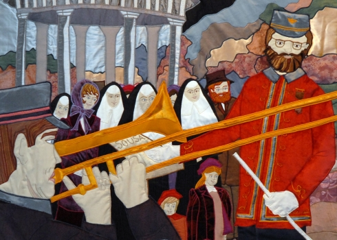 A tapestry at Mercy Medical Center in Baltimore commemorates a performance by John Philip Sousa benefiting a new Baltimore hospital built by the Sisters of Mercy. (Mercy Medical Center Photo/Kevin Parks)